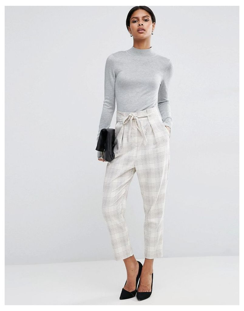 ASOS Check Trouser With Paperbag Waist - Multi