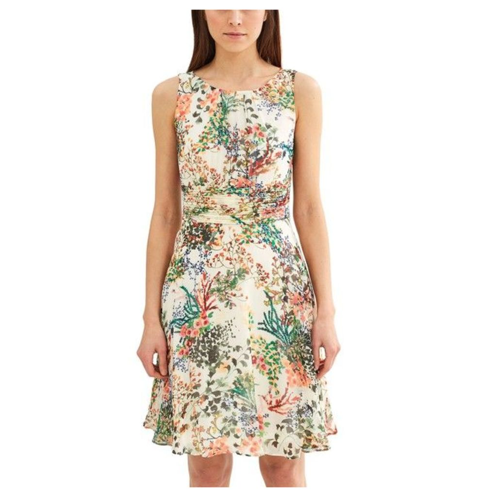 Floral Print Sleeveless Dress with Low-Cut Neckline at Back