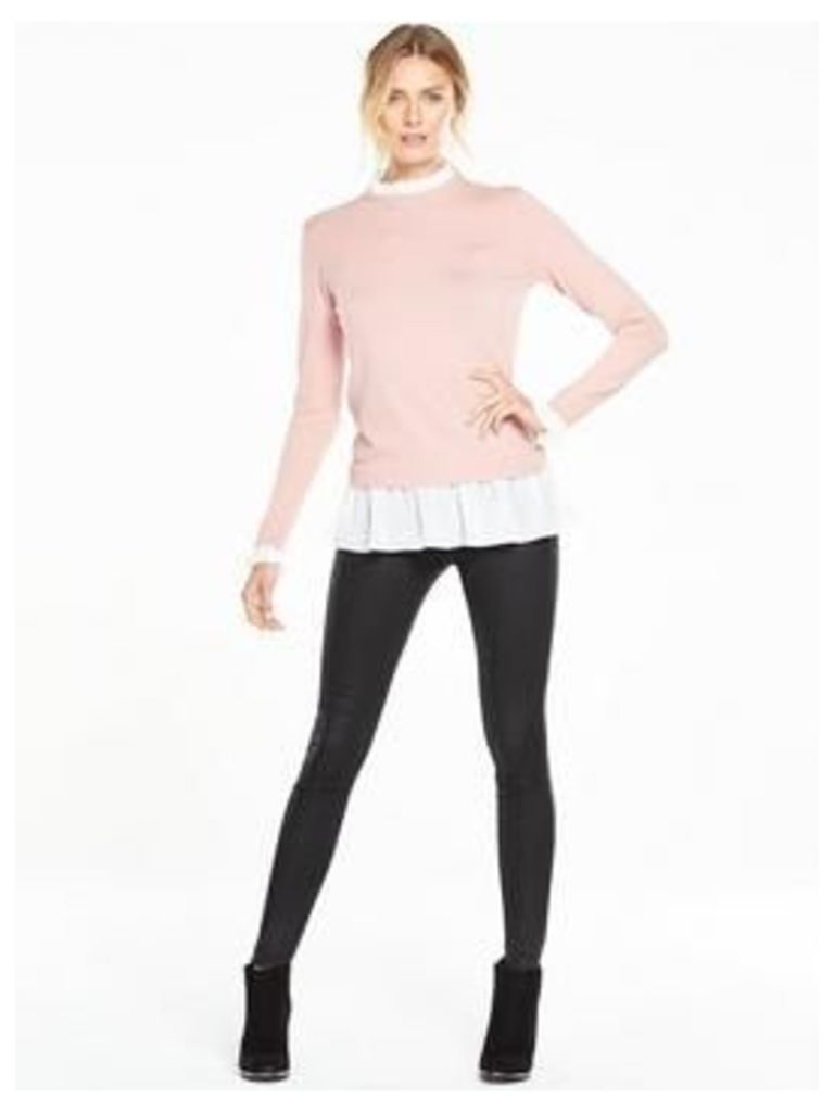 V By Very 2-In-1 Ruffle Hem Jumper With Frill Collar