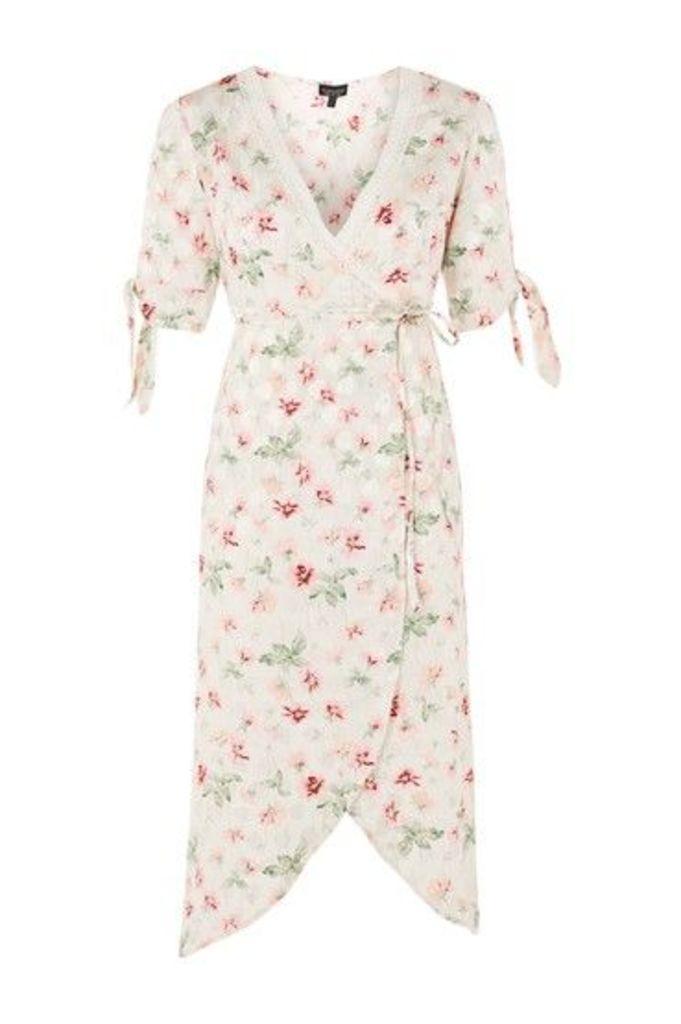 Womens Floral Wrap Midi Dress - Ivory, Ivory