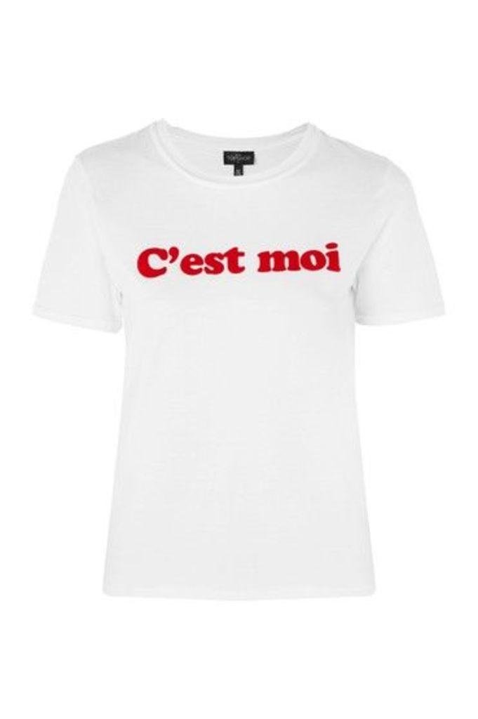 Womens PETITE 'C'est Moi' T-Shirt - White, White