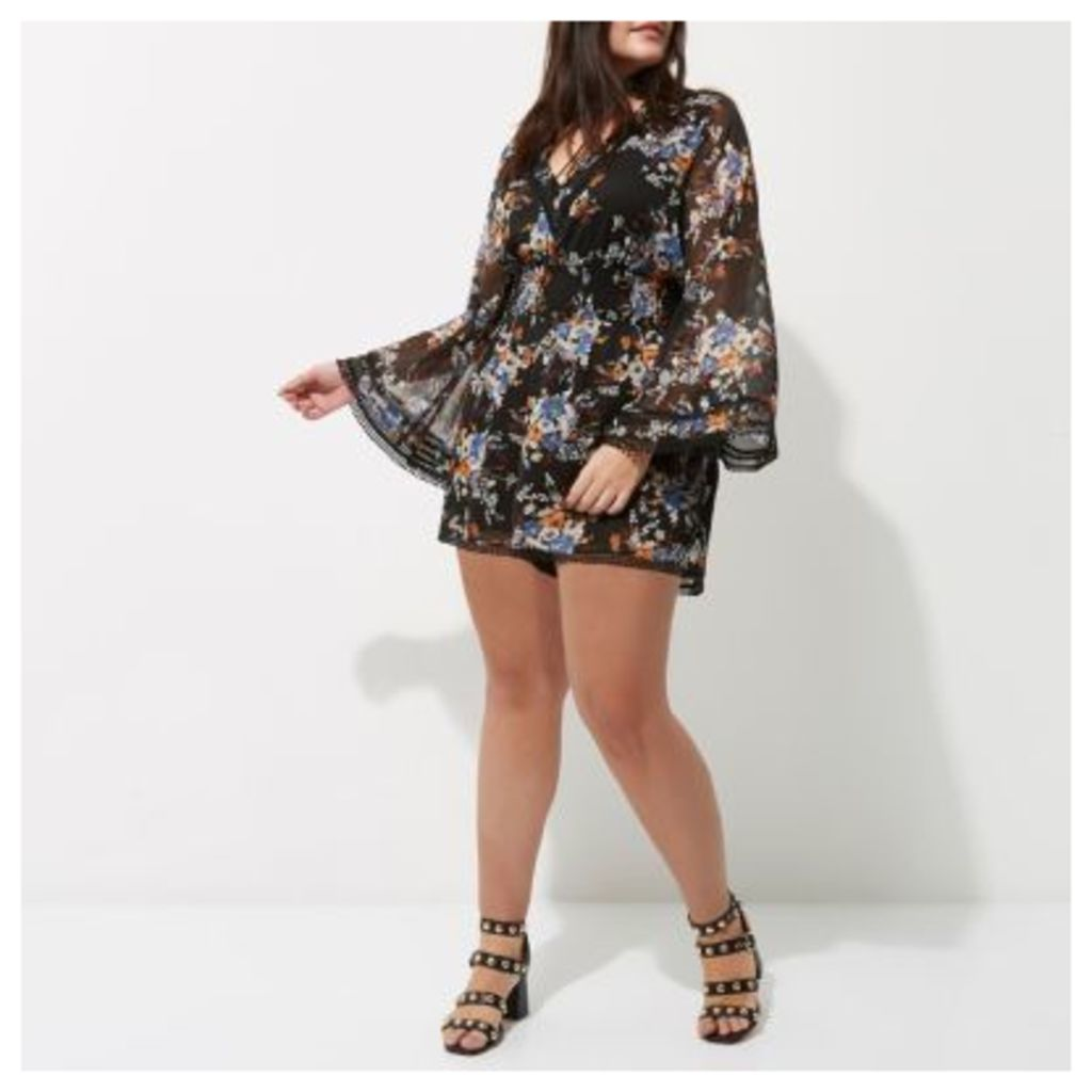 River Island Womens Plus Black floral kimono sleeve playsuit