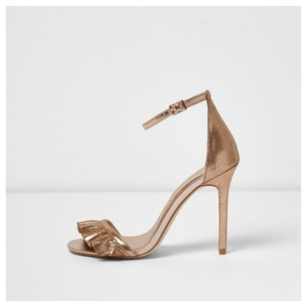 River Island Womens Gold wide fit frill barely there sandals