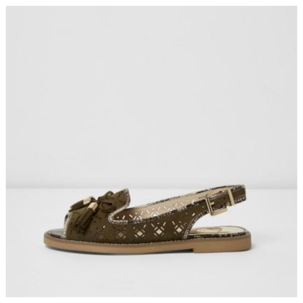 River Island Womens Khaki wide fit laser cut slingback loafers