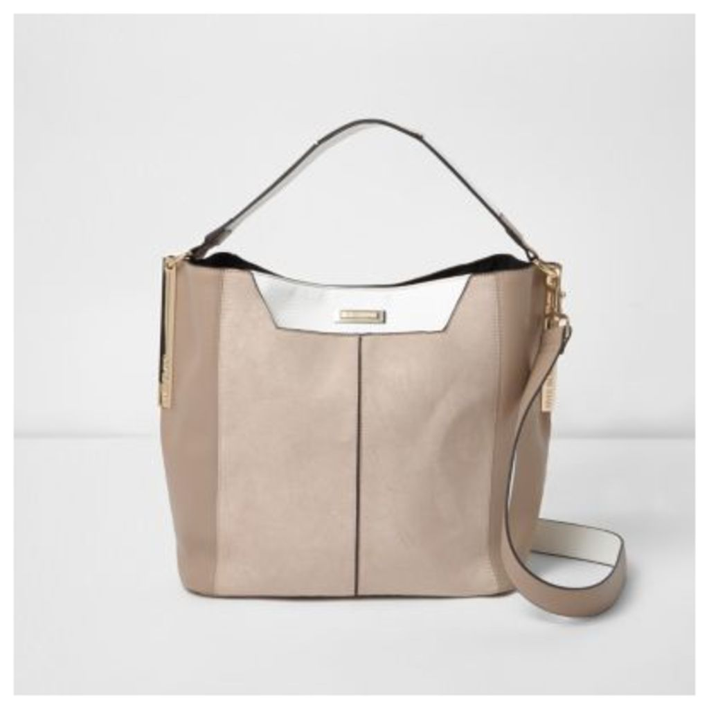 River Island Womens Beige and white slouch underarm bag