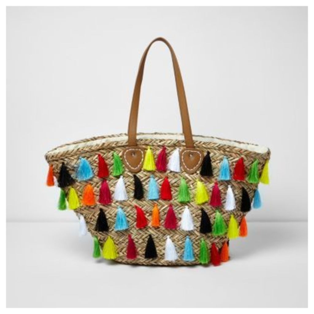 River Island Womens Beige multicolour tassel large beach bag