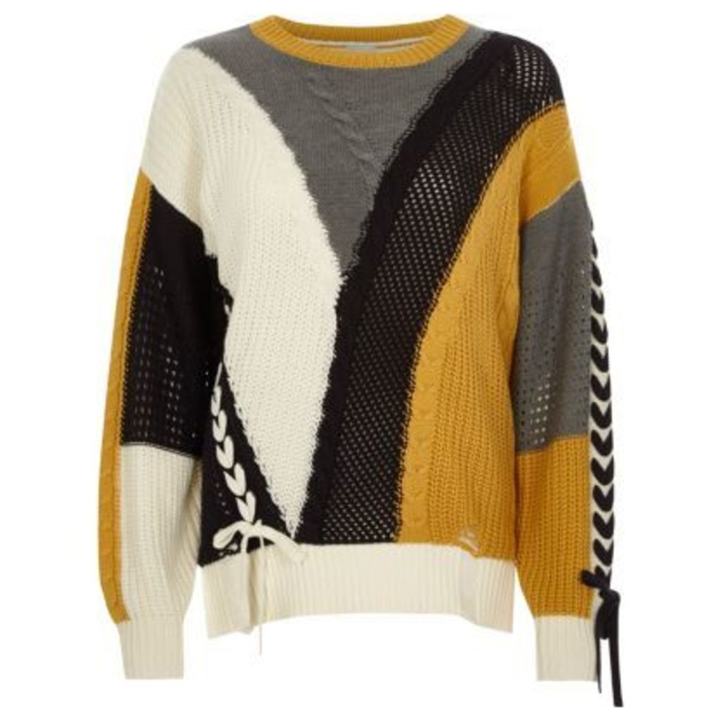 River Island Womens Cream colour block ladder lace-up jumper