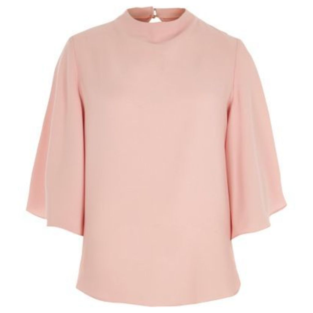 River Island Womens Pink flared sleeve high neck top