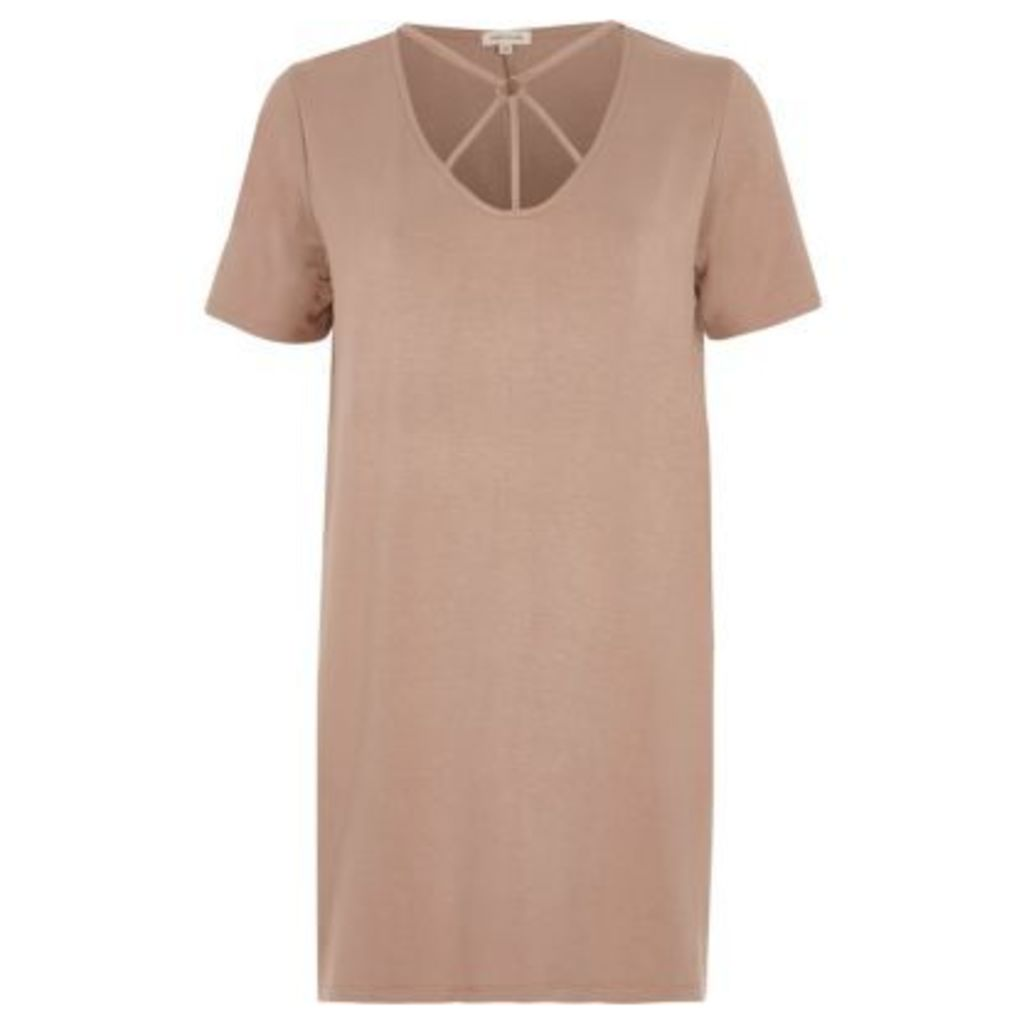 River Island Womens Pink harness neck oversized T-shirt