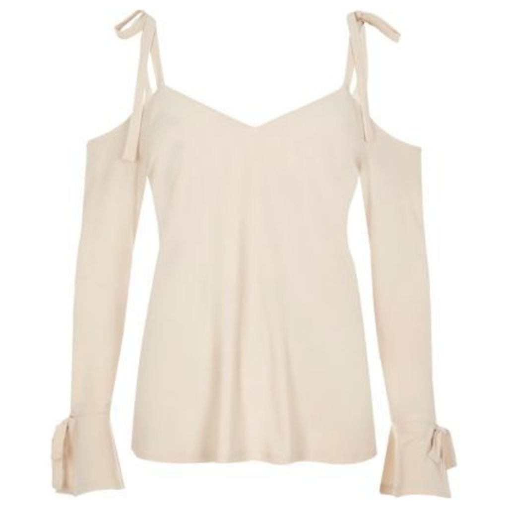 River Island Womens Cream tied cold shoulder top