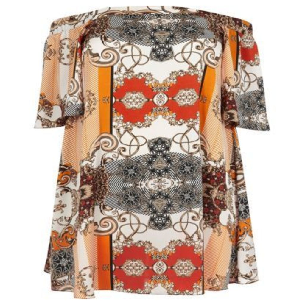 River Island Womens Plus Orange print bardot top