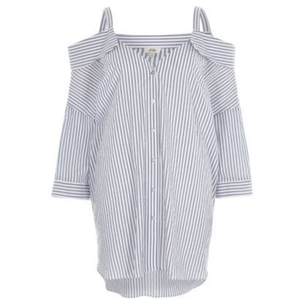 River Island Womens Blue stripe cold shoulder shirt