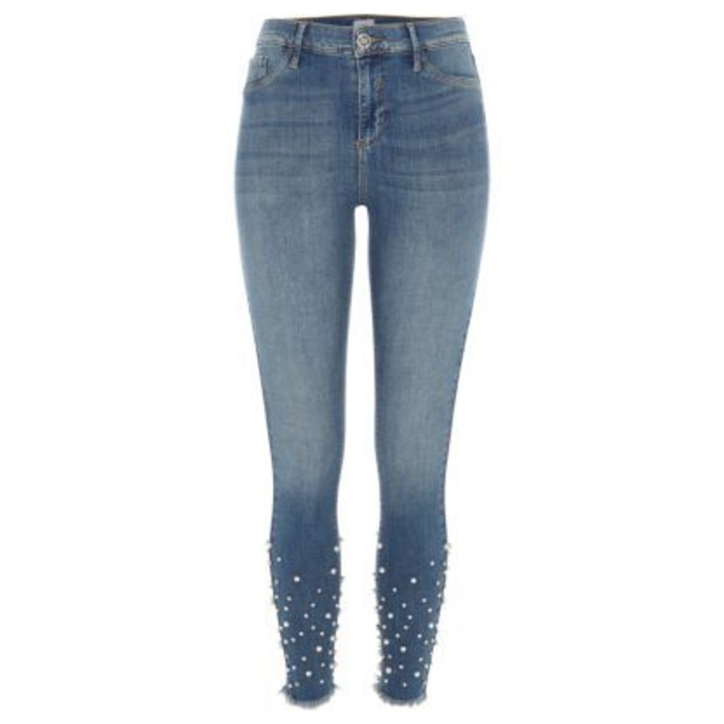 River Island Womens Mid authentic Blue Molly embellished jeggings