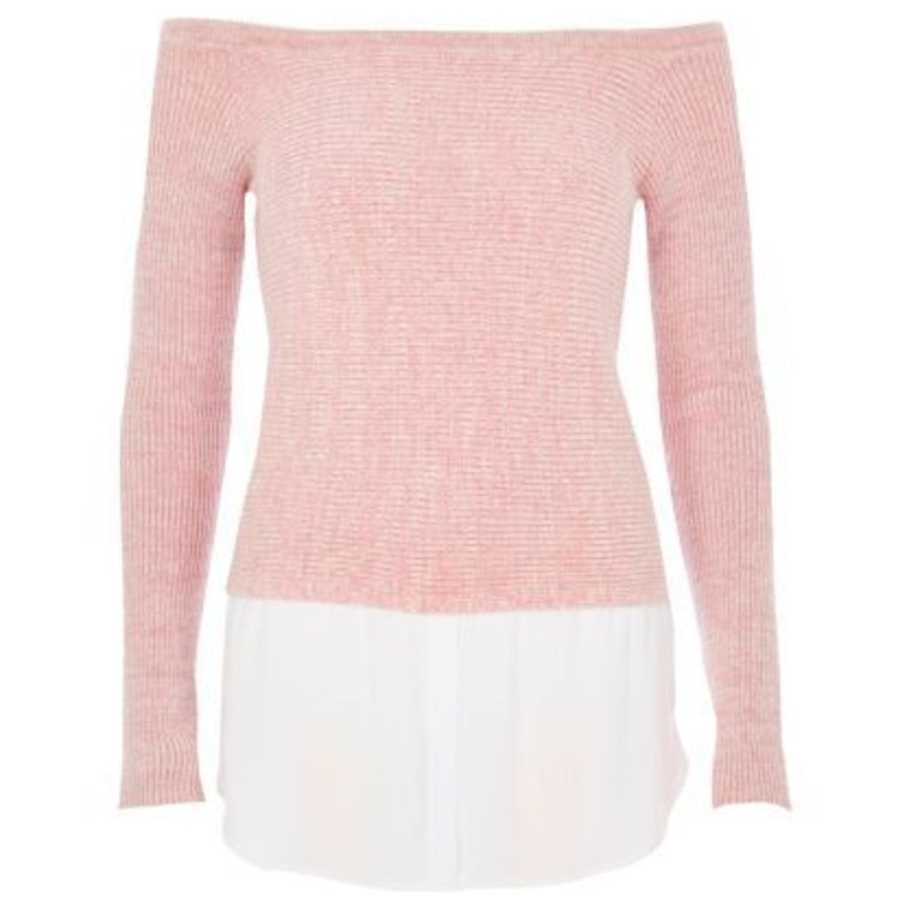 River Island Womens Light Pink 2 in 1 jumper