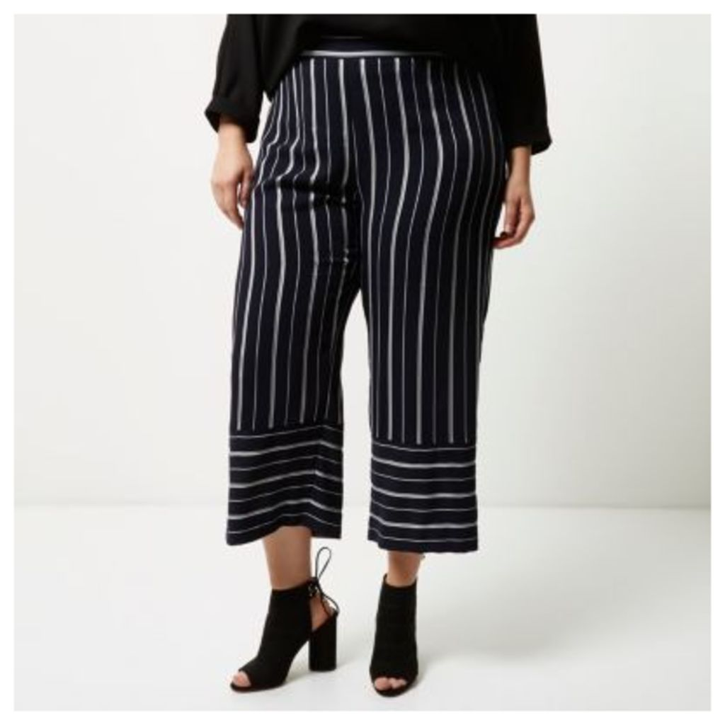 River Island Womens Plus Navy mixed stripe cropped trousers