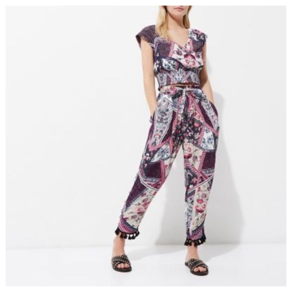 River Island Womens Petite Purple floral tassel hem trousers