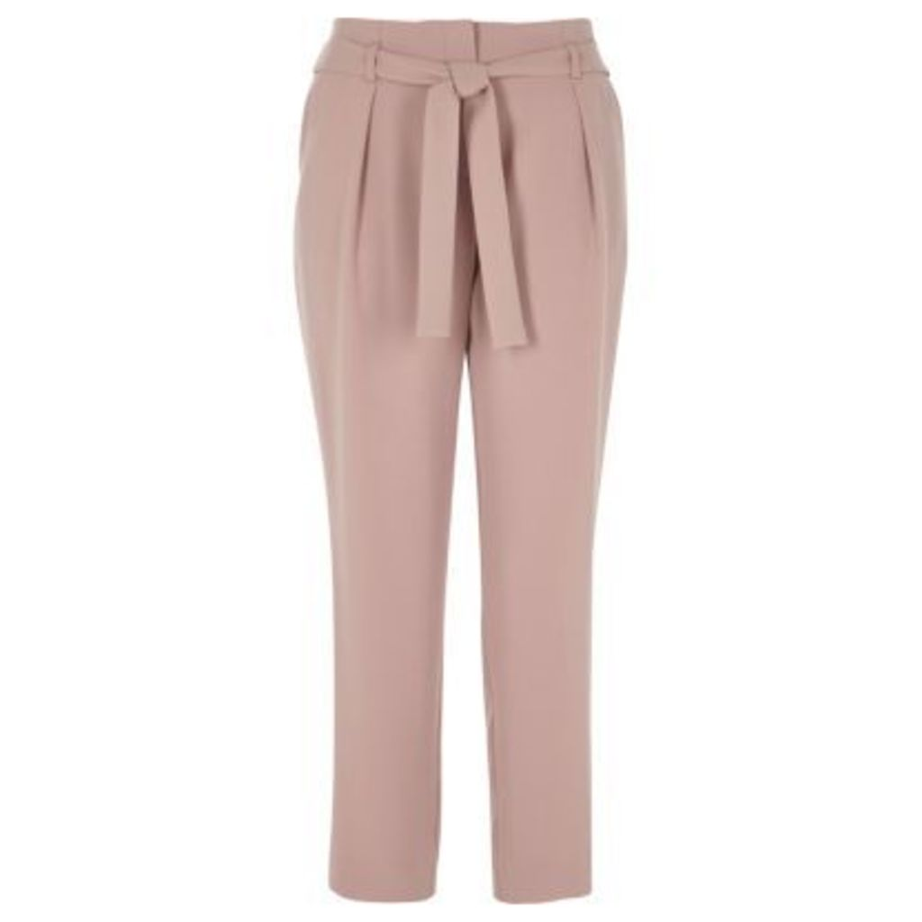 River Island Womens Pink tie waist tapered trousers