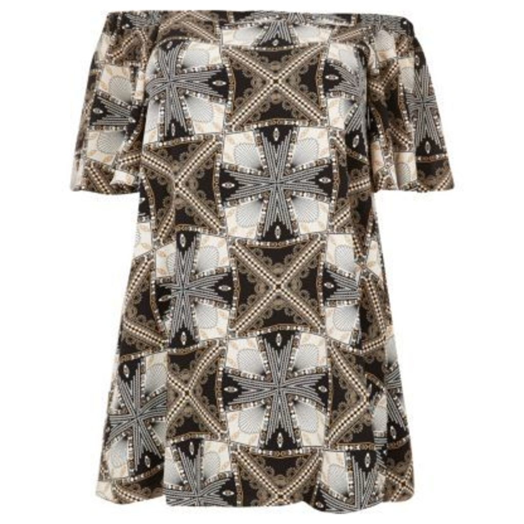 River Island Womens RI Plus Orange print bardot dress