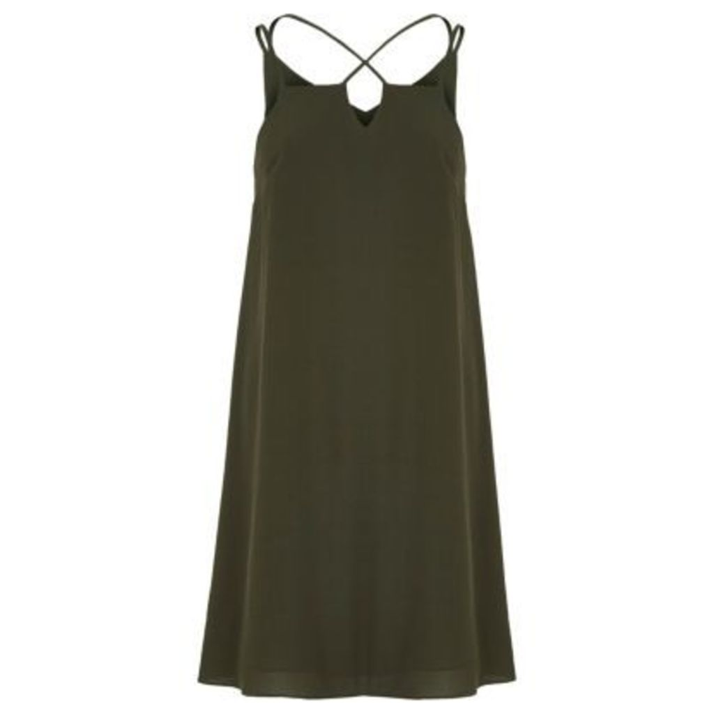 River Island Womens Khaki green cross strap slip dress