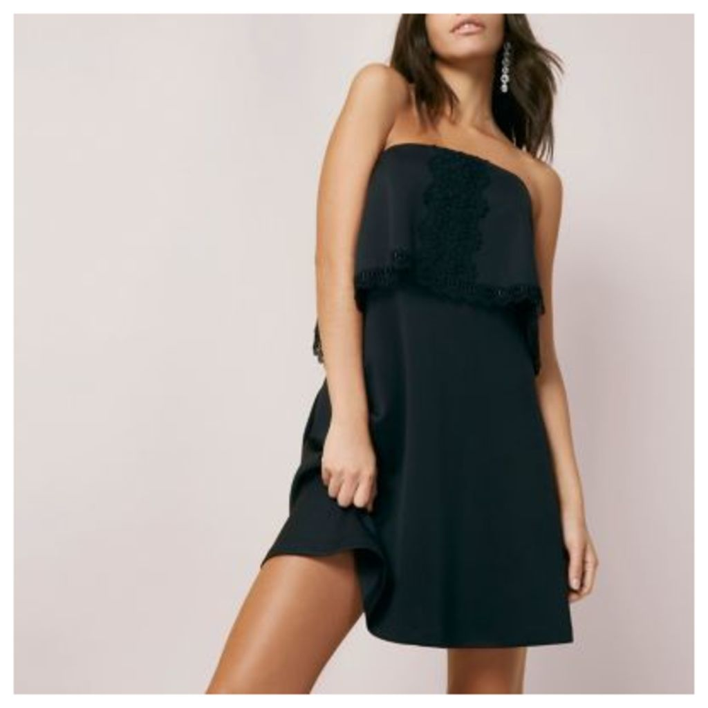 River Island Womens Black bandeau lace trim mini dress