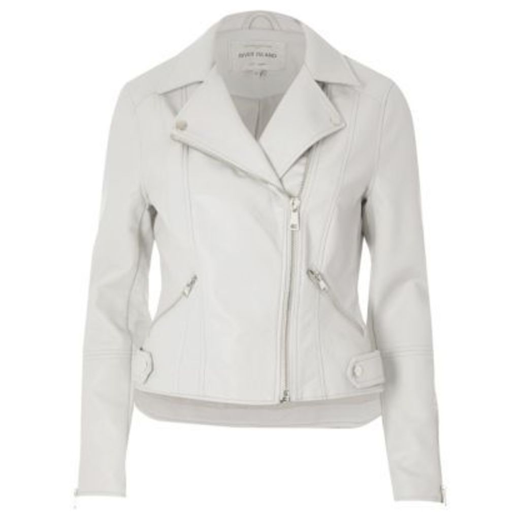 River Island Womens Light Grey faux leather biker jacket