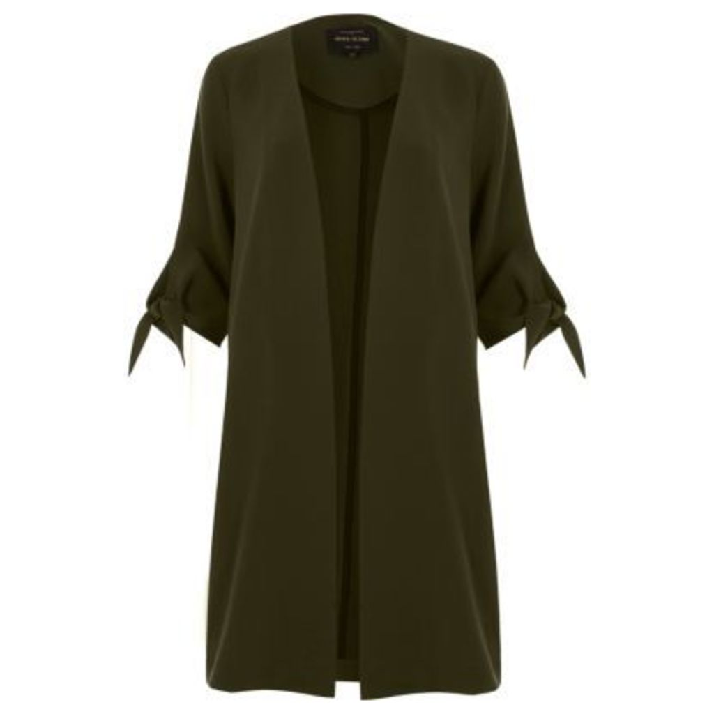 River Island Womens Khaki green tied cuff duster coat
