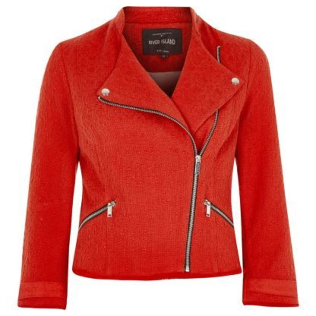 River Island Womens Red boucle biker jacket