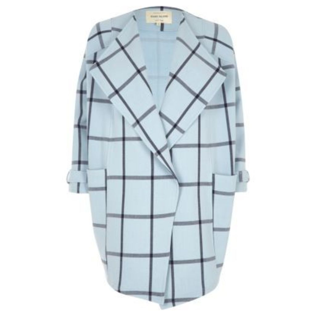 River Island Womens Blue check fallaway oversized jacket