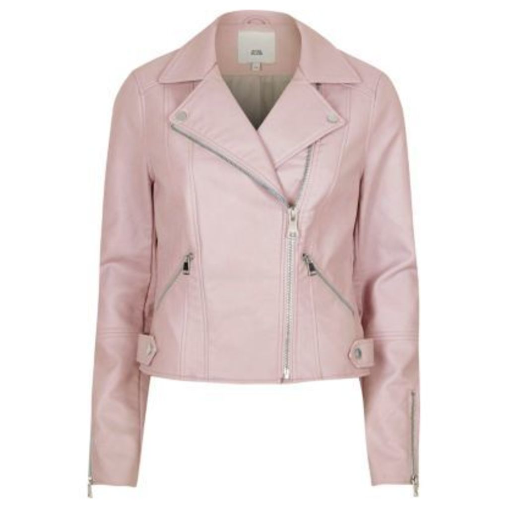 River Island Womens Light Pink faux leather biker jacket