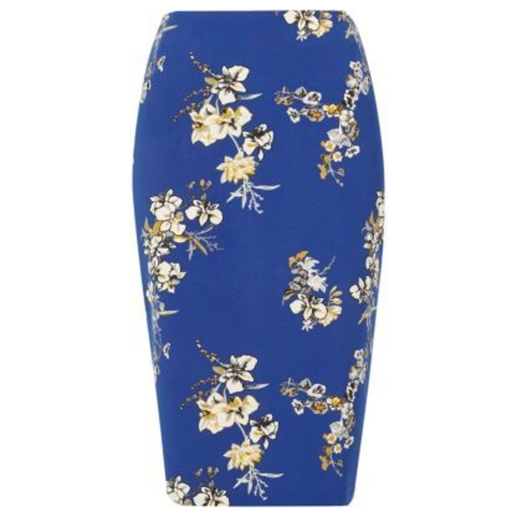 River Island Womens Blue floral print pencil skirt