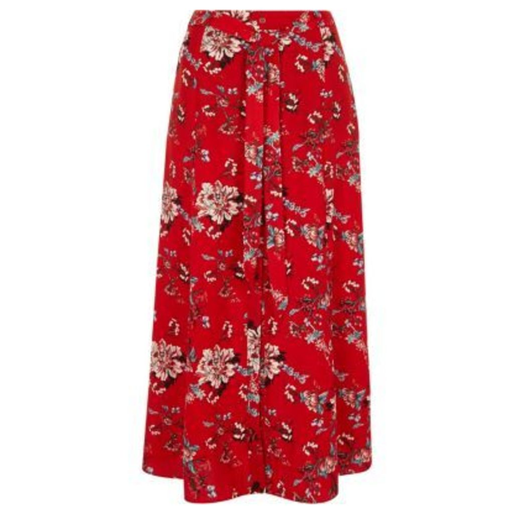 River Island Womens Red floral print maxi skirt