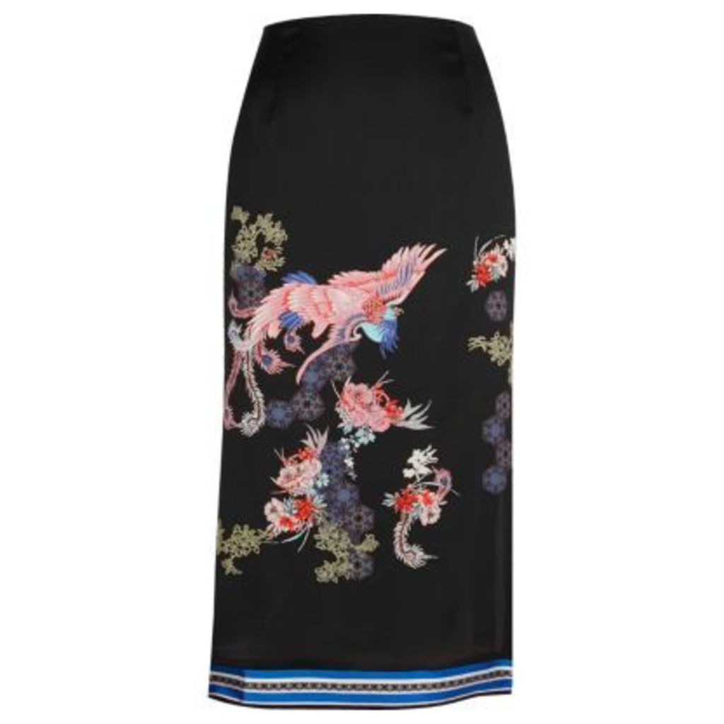 River Island Womens Black oriental print midi skirt