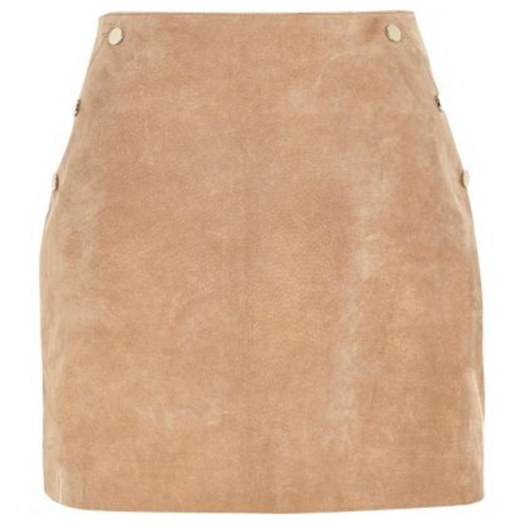 River Island Womens Tan suede A-line mini skirt