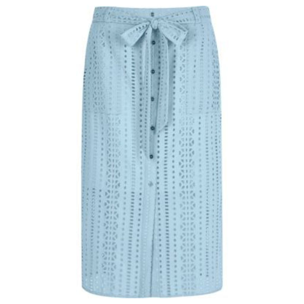 River Island Womens Light Blue button through broderie midi skirt