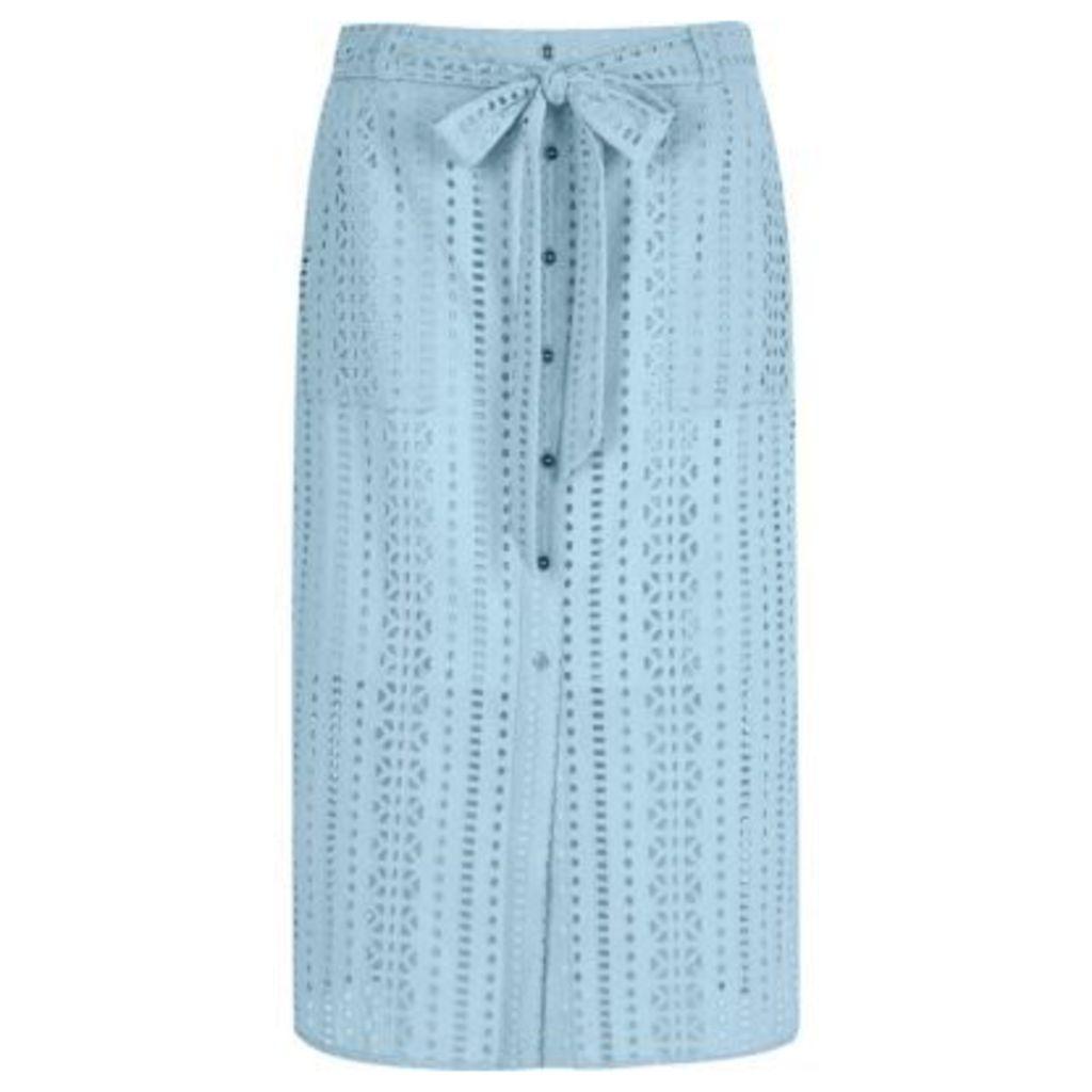 River Island Womens Light Blue button through broderie midi skirt