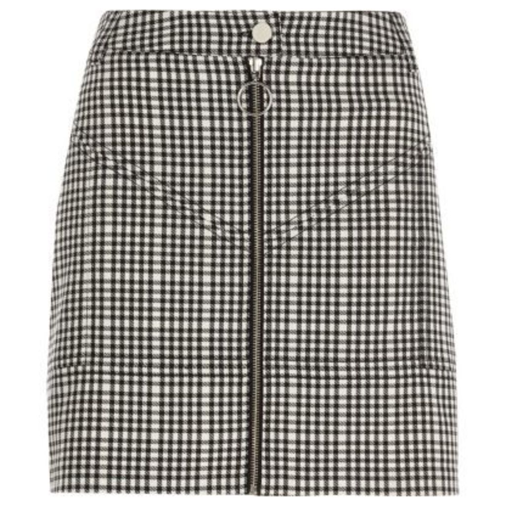 River Island Womens Black check zip front mini skirt