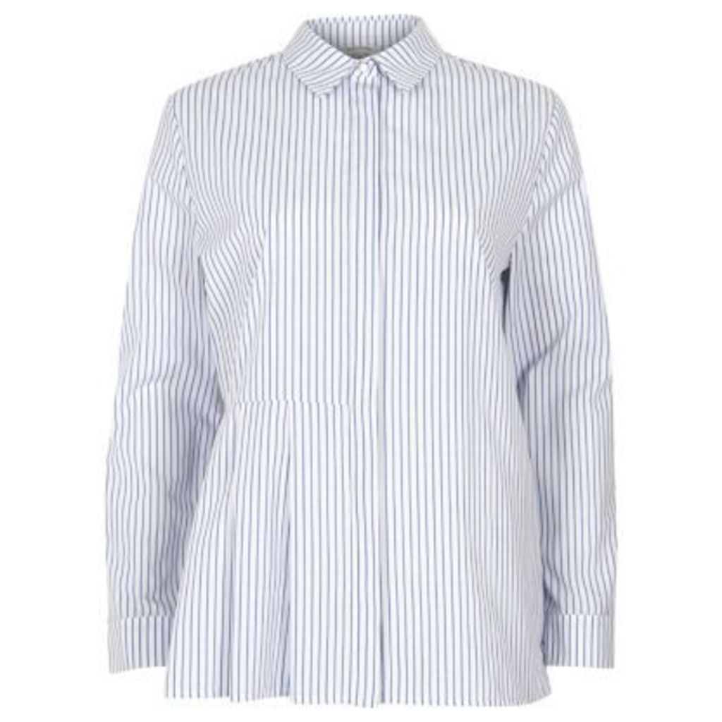 River Island Womens Blue stripe print pleated shirt