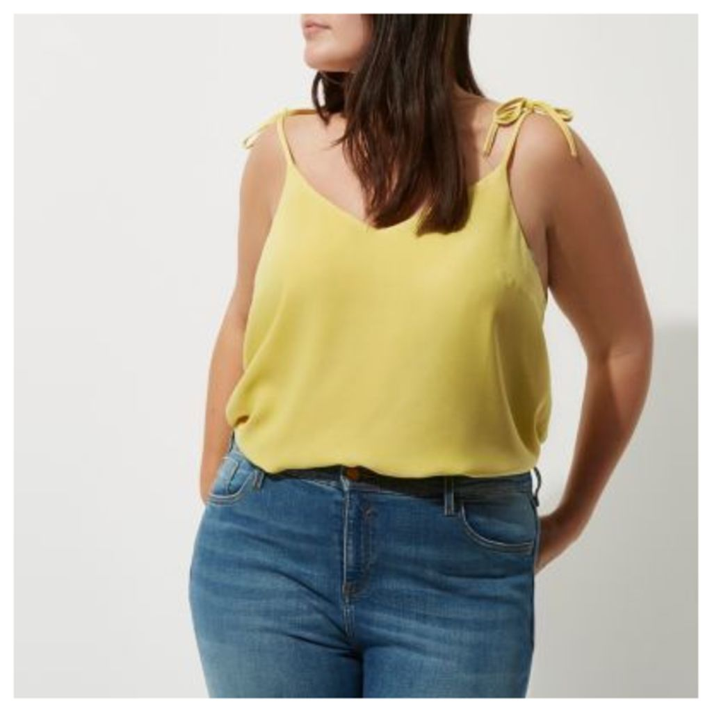 River Island Womens Plus Yellow bow shoulder cami top