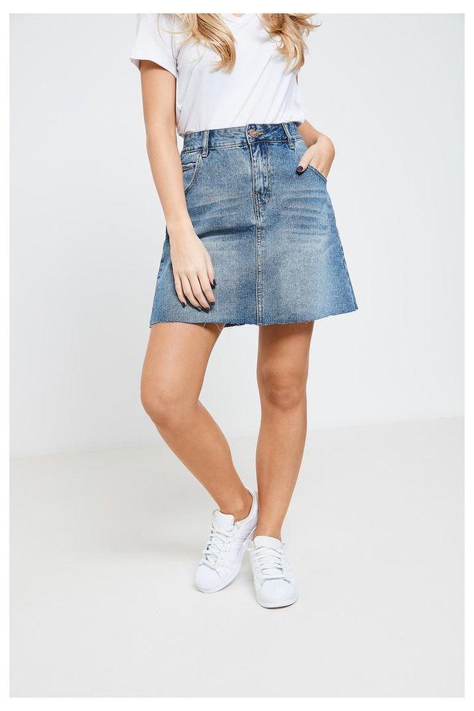 Anita & Green Vintage Wash Denim Mini Skirt - Blue