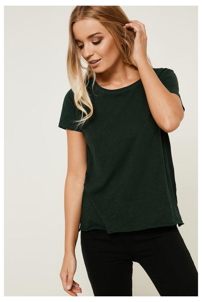 Only Bone Short Sleeve Raw Plain Top - Green