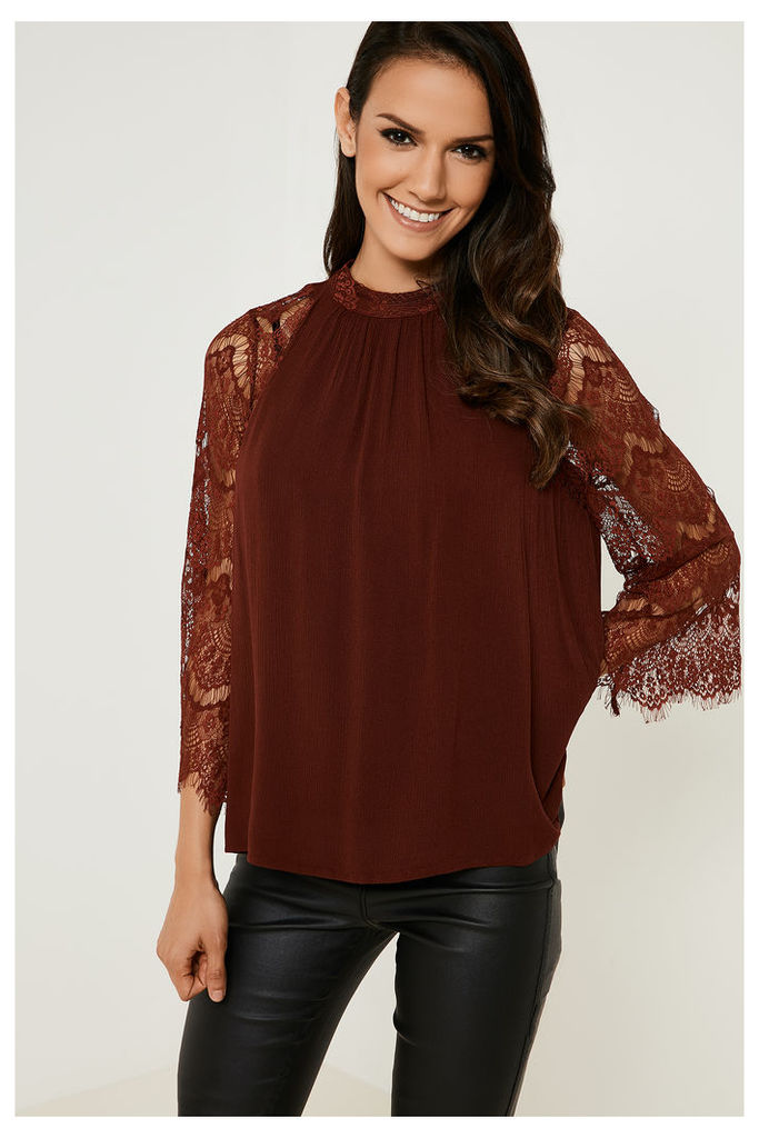Vila Pione Lace Sleeve Top - Red