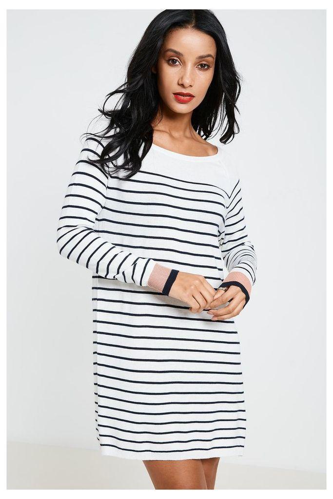 Vila Striped Long Sleeve Tunic Top - White