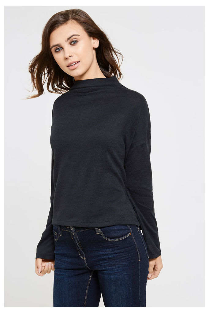Vila Lune High Neck Knitted Top - Black