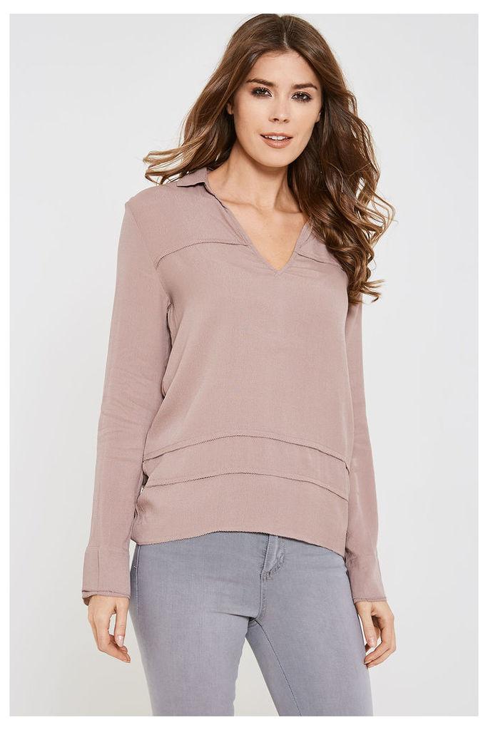 Vila Crafter V Neck Long Sleeve Top - Pink