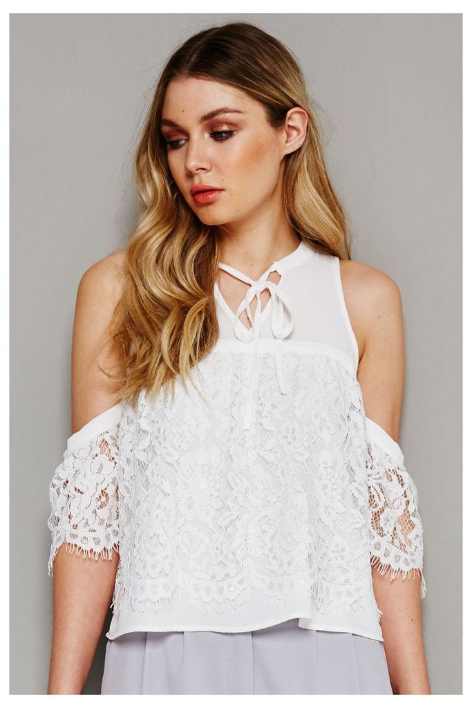 Fashion Union Cold Shoulder Lace Detail Blouse  - White