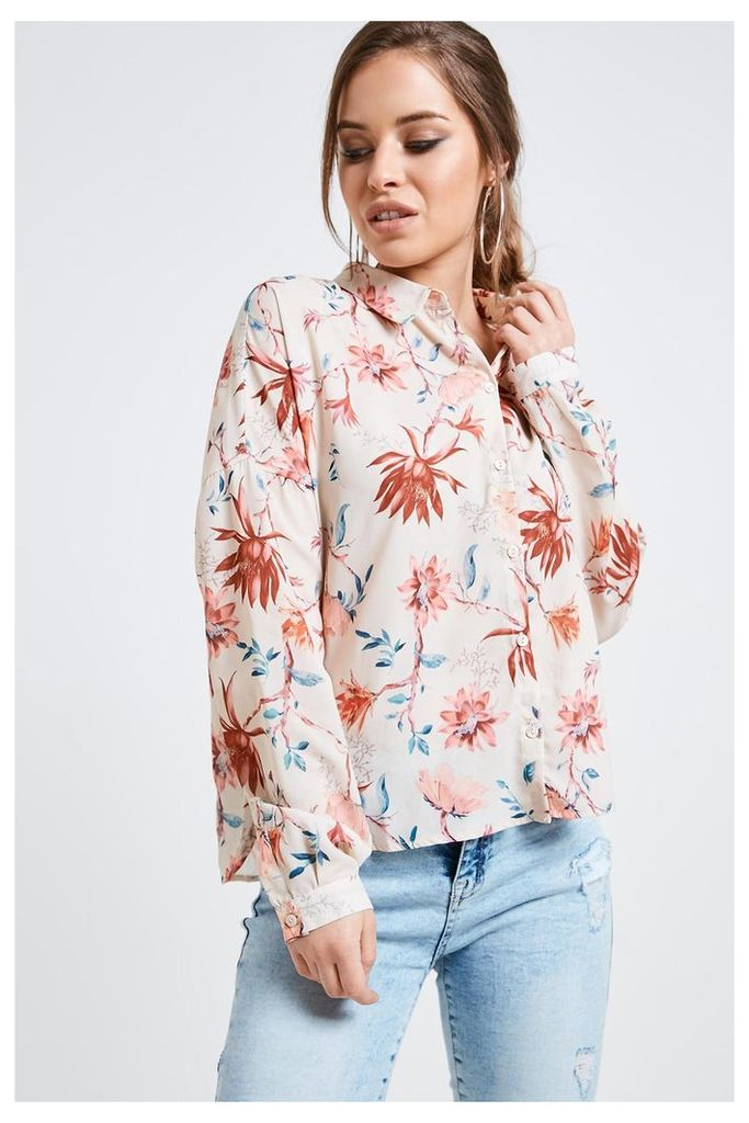Only Long Sleeve Floral Print Blouse - Pink