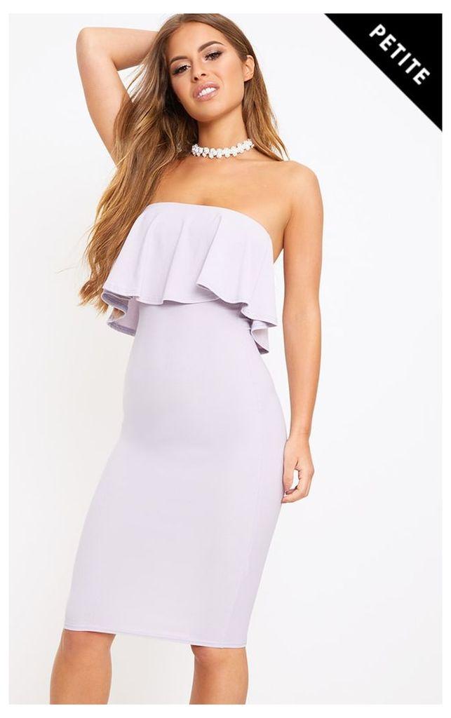 Petite Dove Grey Frill Layer Midi Dress