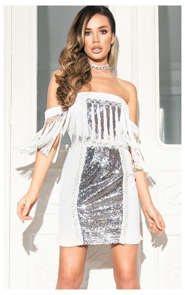 Carlucia White Premium Sequin Tassel Bardot Mini Dress
