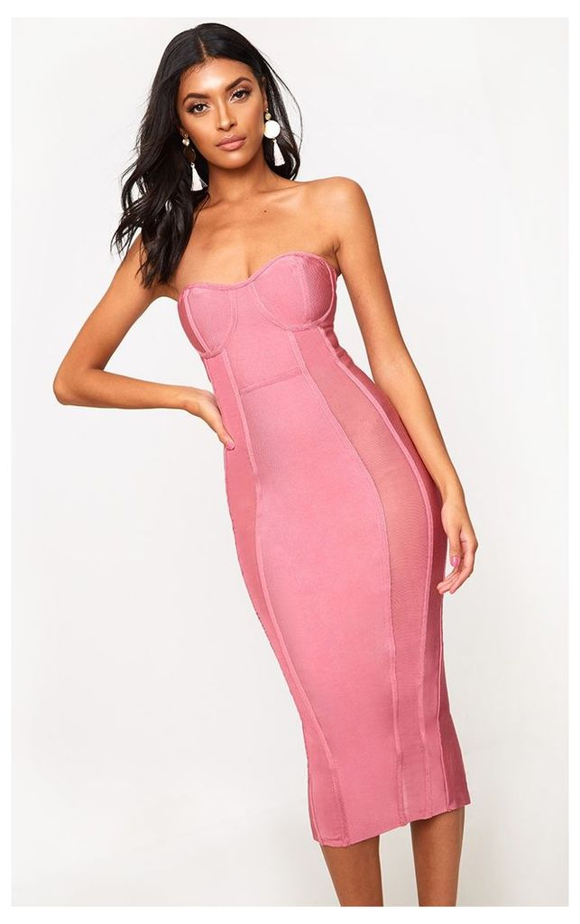 Rose Bandage Mesh Insert Midi Dress