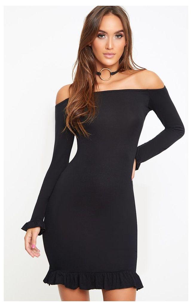 Black Bardot Frill Hem Bodycon Dress